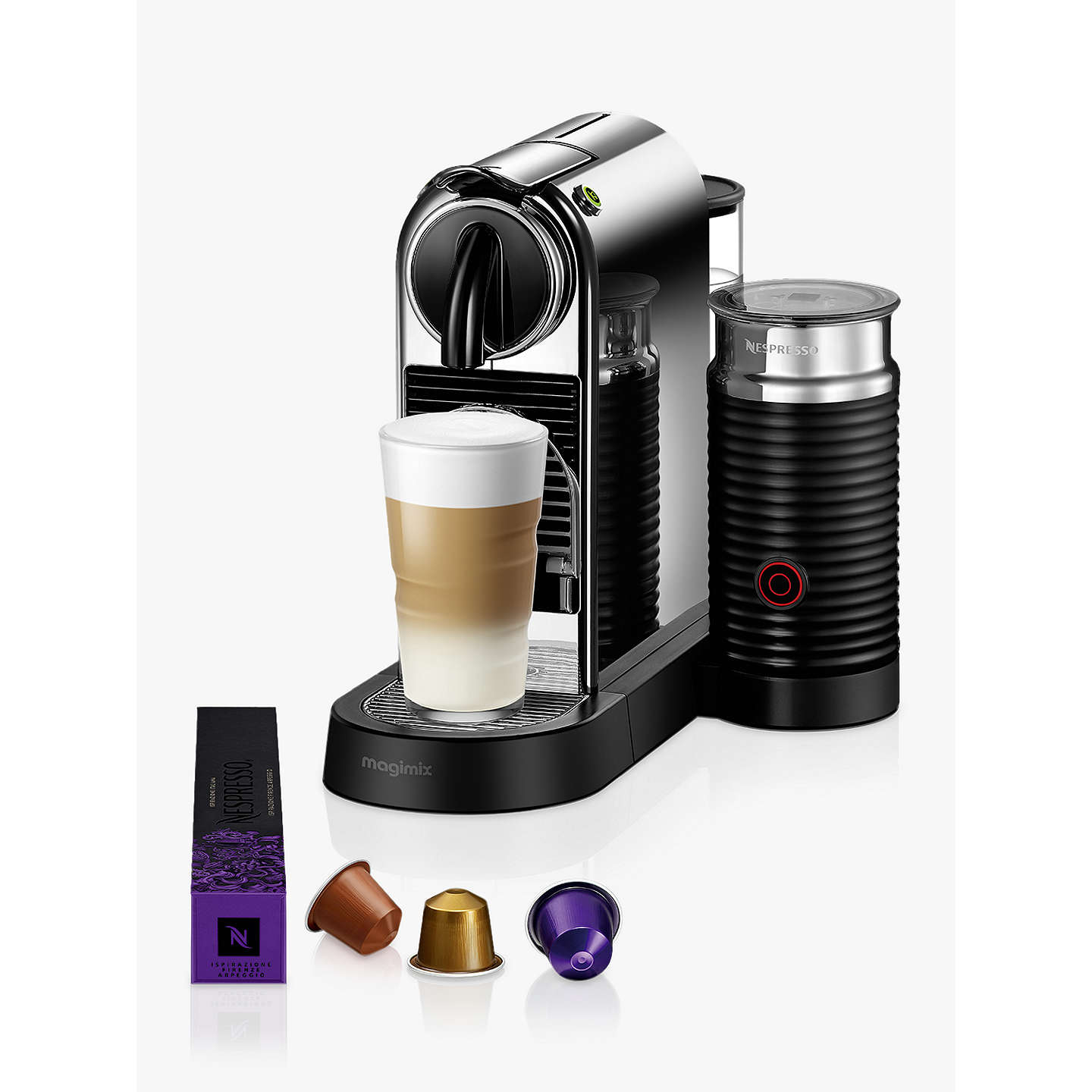 nespresso citiz coffee machine by magimix chrome effect at john lewis. Black Bedroom Furniture Sets. Home Design Ideas