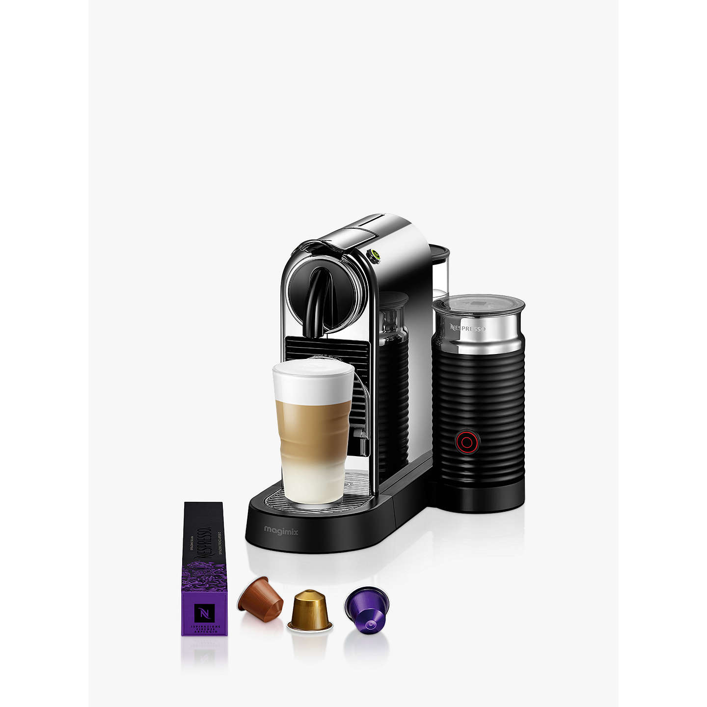 nespresso citiz milk coffee machine by magimix chrome effect at john lewis. Black Bedroom Furniture Sets. Home Design Ideas