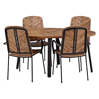 John Lewis Leaf 4 Seater Table & Chairs Set, FSC-Certified (Acacia), Natural