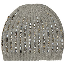 Buy John Lewis Ribbed Smokey Sequin Beanie Hat, Grey Online at johnlewis.com