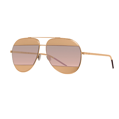 Christian Dior Diorsplit1 Aviator Sunglasses, Gold/Blush