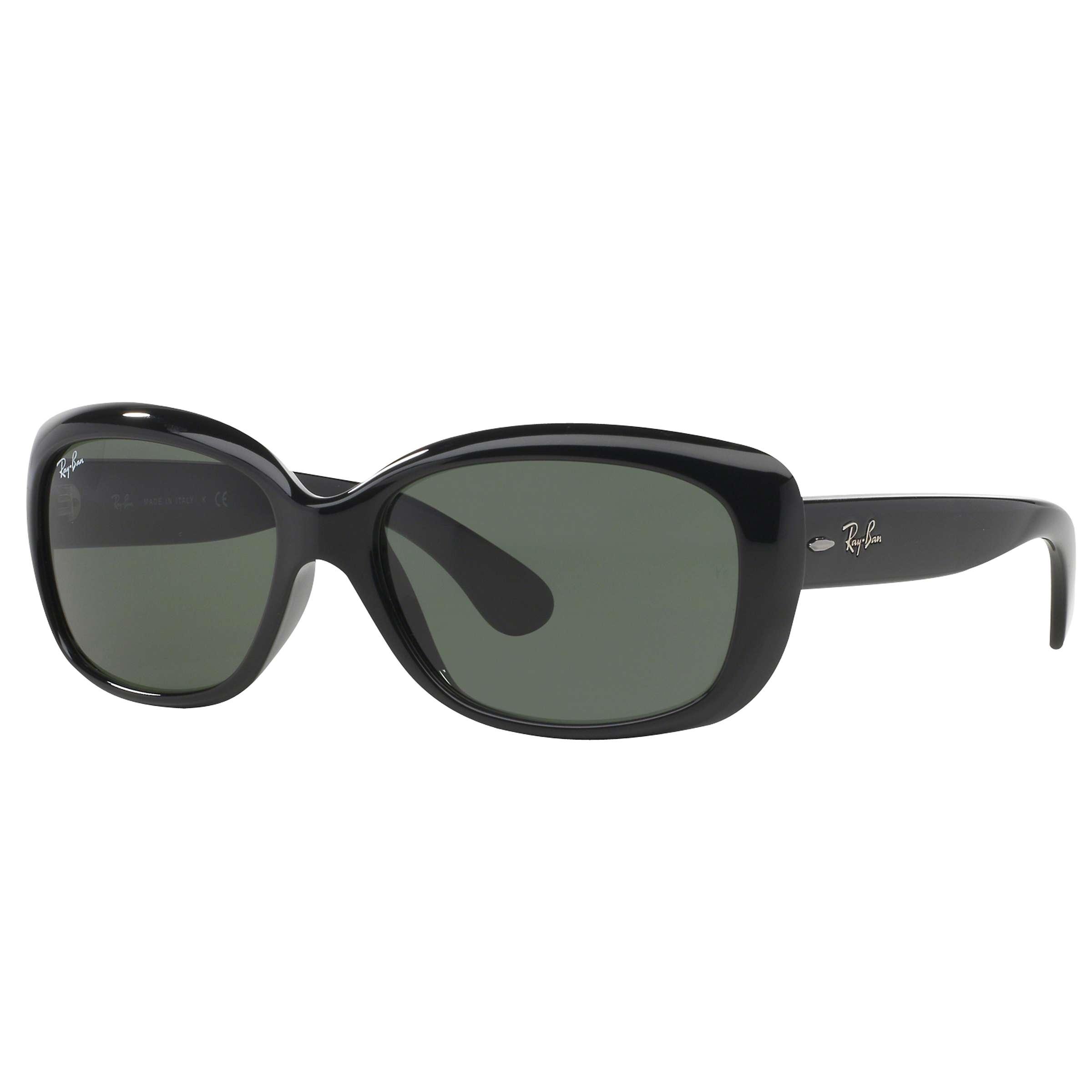 Ray Ban RB20 Women's Jackie Ohh Rectangular Sunglasses, Black/Green