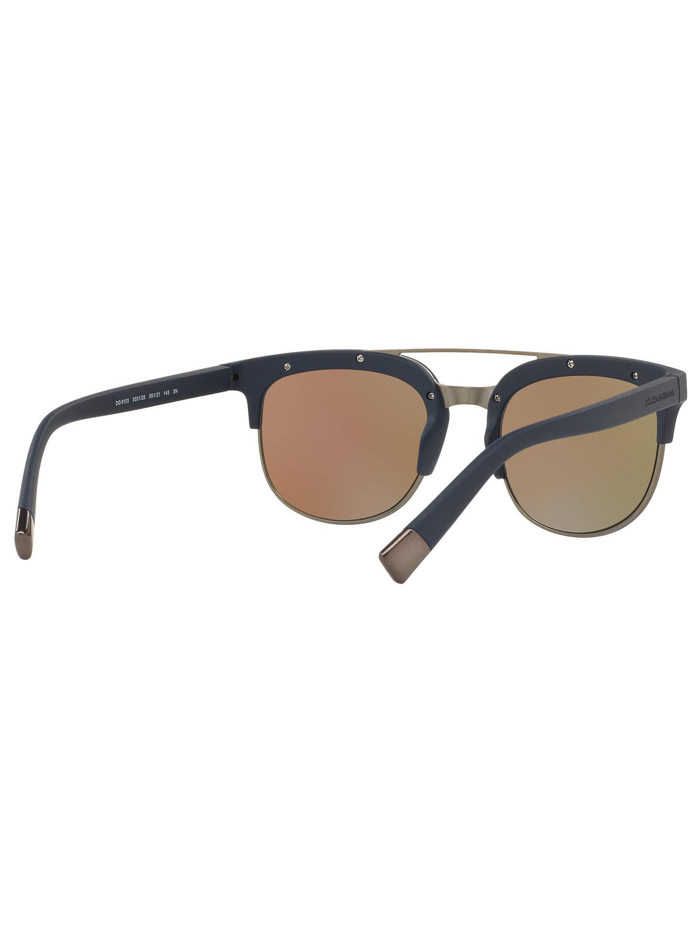 BuyDolce   Gabbana DG6103 Round Framed Sunglasses, Matte Black Blue Online  at johnlewis. 8bfb0dc34a16