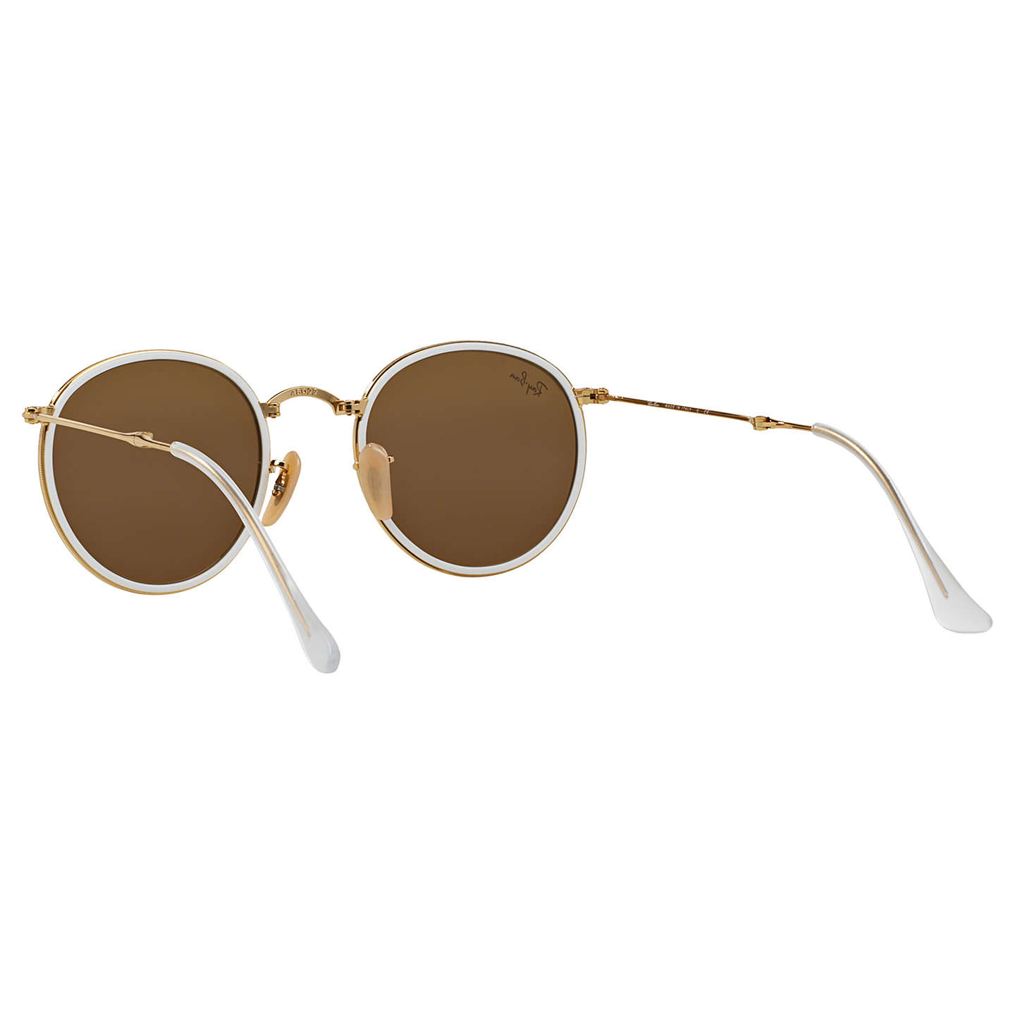 BuyRay-Ban RB3517 Round Folding Sunglasses, Gold/Yellow Flash Online at johnlewis.com