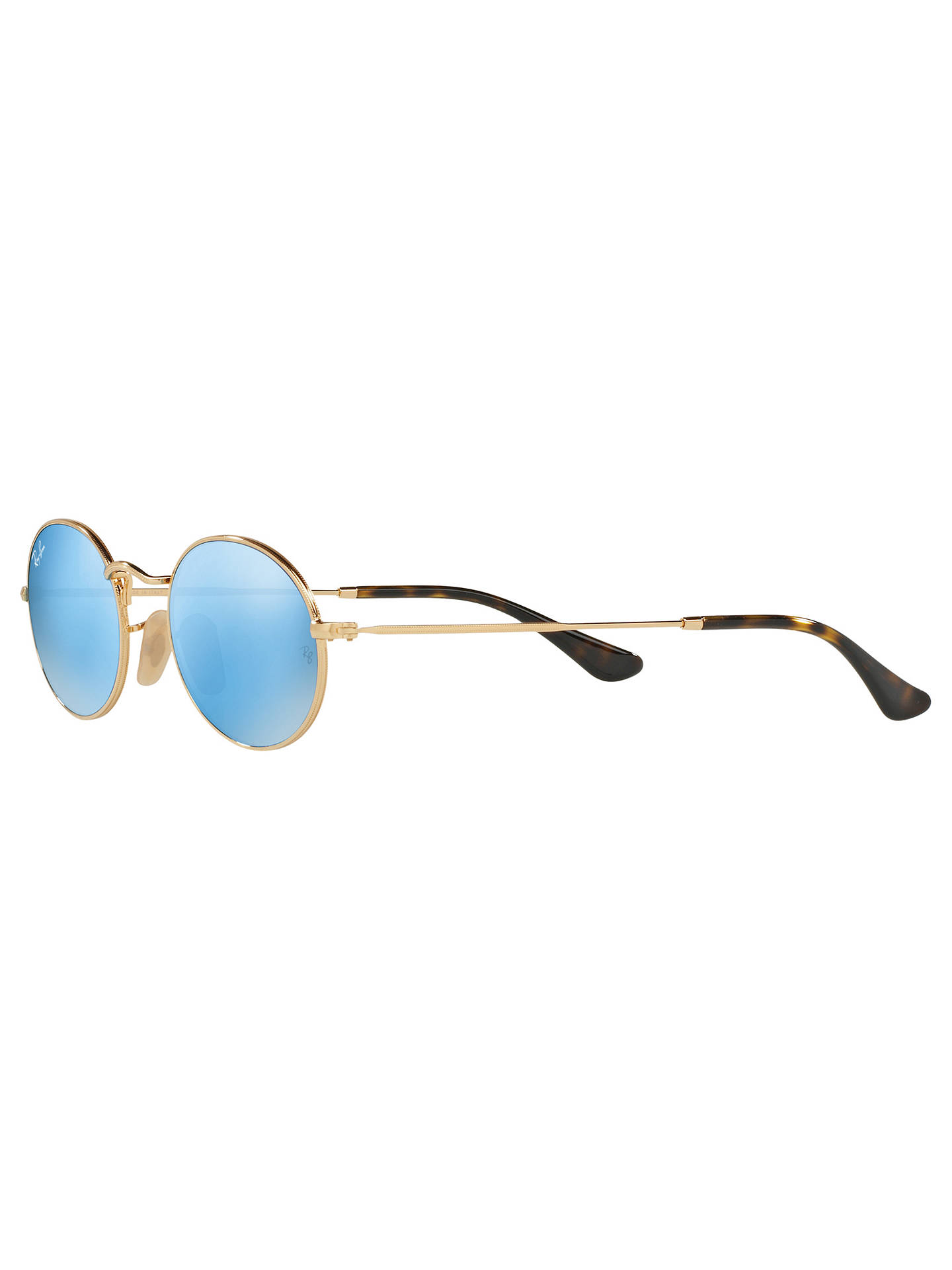 Buy Ray-Ban RB3547 Oval Flat Lens Sunglasses, Gold/Turquoise Online at johnlewis.com