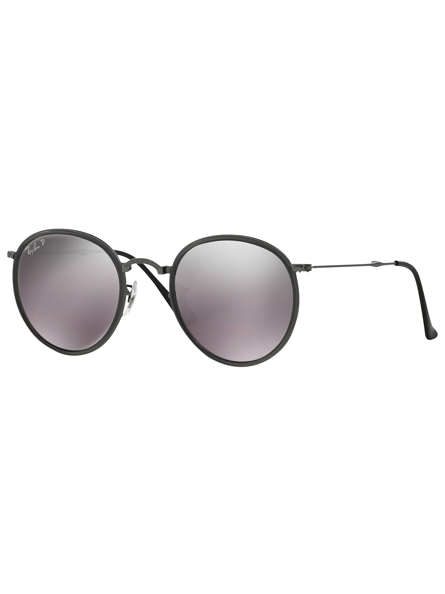 ddcc9d95d82e Buy Ray-Ban RB3517 Polarised Round Folding Sunglasses, Gunmetal/Silver  Gradient Online at ...