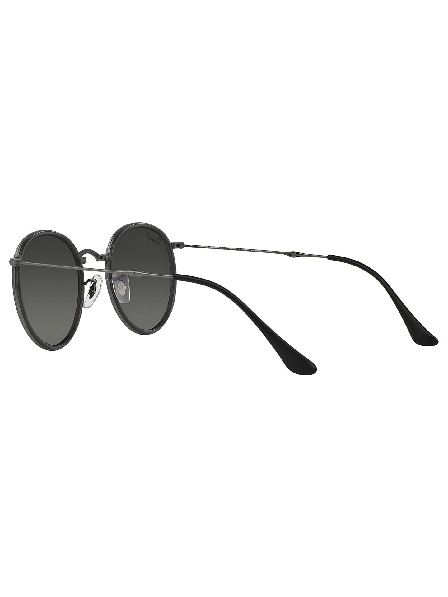 cc2712dc5209 ... Buy Ray-Ban RB3517 Polarised Round Folding Sunglasses, Gunmetal/Silver  Gradient Online at ...