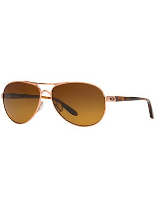 Oakley OO4079 Feedback™ Polarised Aviator Metal Frame Sunglasses