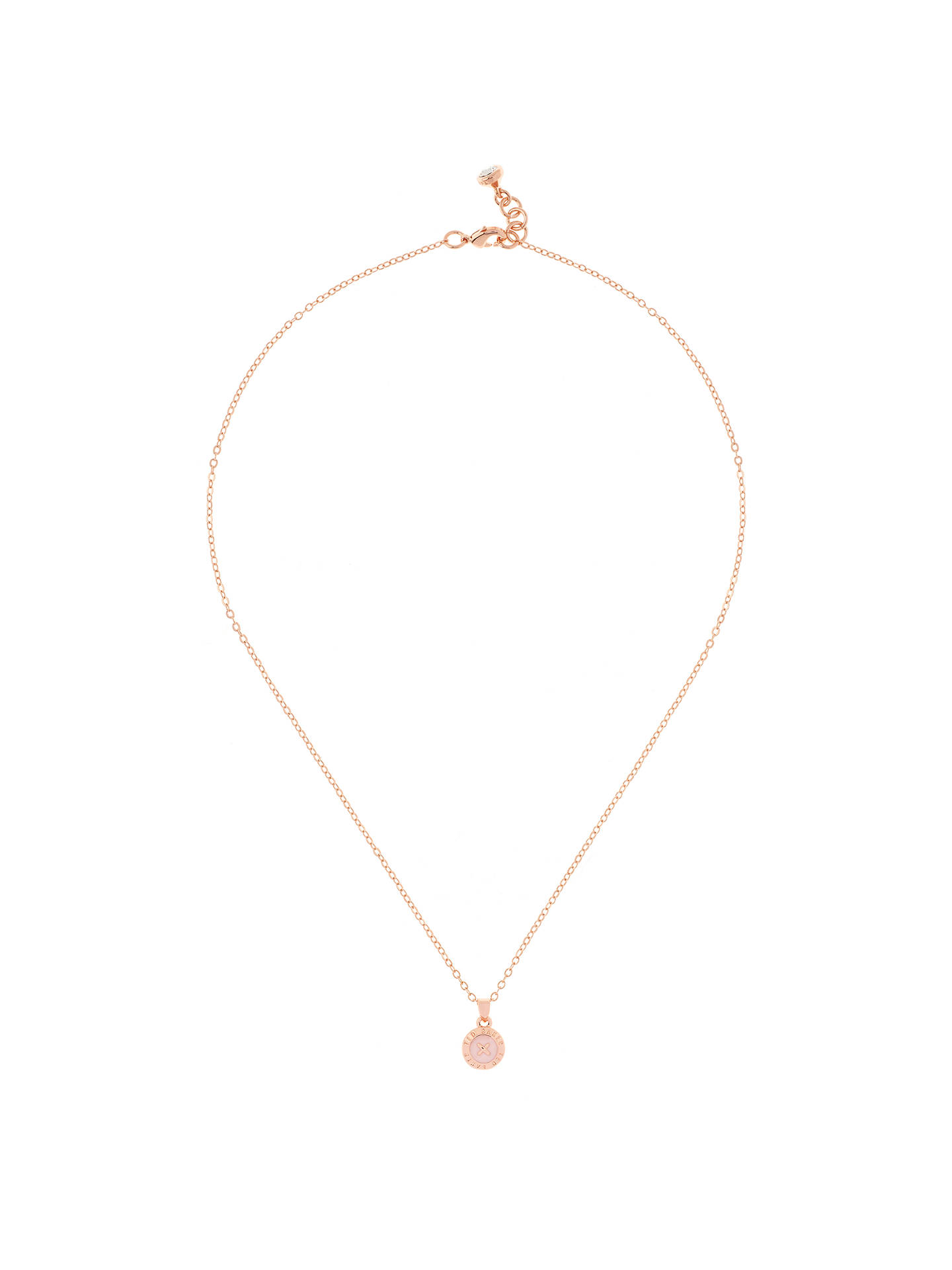 BuyTed Baker Elvina Enamel Mini Button Pendant Necklace, Rose Gold/Baby Pink Online at johnlewis.com