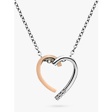 Buy Hot Diamonds Large Heart Pendant Necklace, Silver/Rose Gold Online at johnlewis.com
