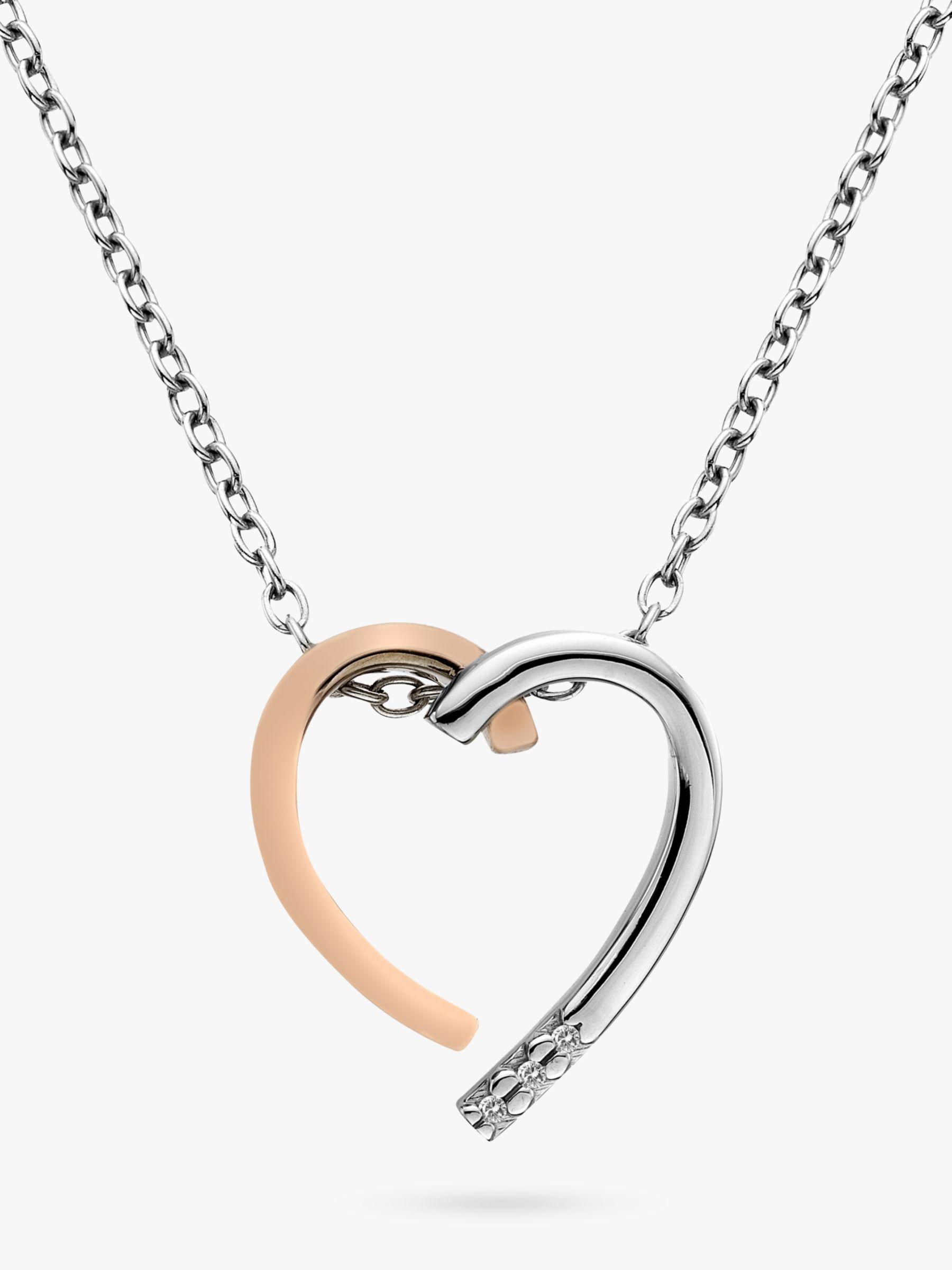 Hot Diamonds Hot Diamonds Large Heart Pendant Necklace, Silver/Rose Gold