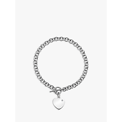 Image of            Hot Diamonds Love Locked Heart Charm Chain Bracelet, Silver