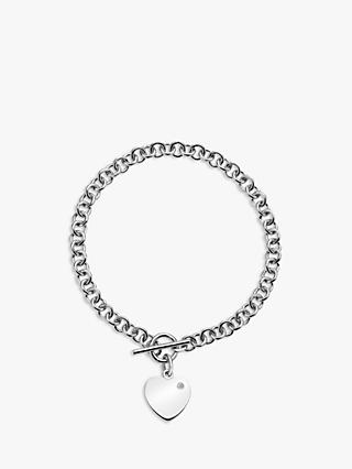 Hot Diamonds Love Locked Heart Charm Chain Bracelet, Silver