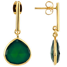 Buy John Lewis Gemstones Gold Plated Teardrop Earrings, Gold/Green Onyx Online at johnlewis.com