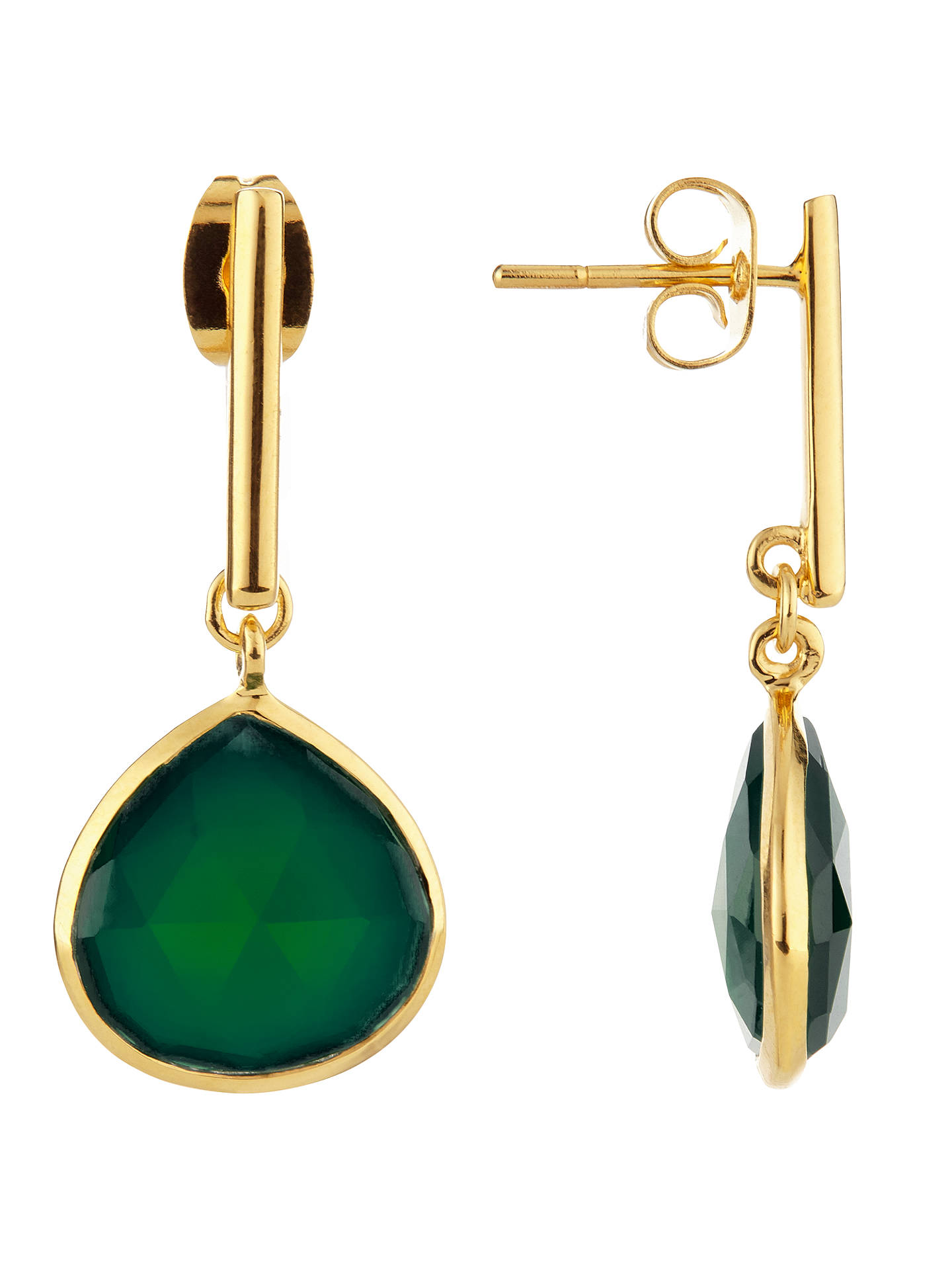 BuyJohn Lewis Semi-Precious Stone Teardrop Drop Earrings, Gold/Green Onyx Online at johnlewis.com