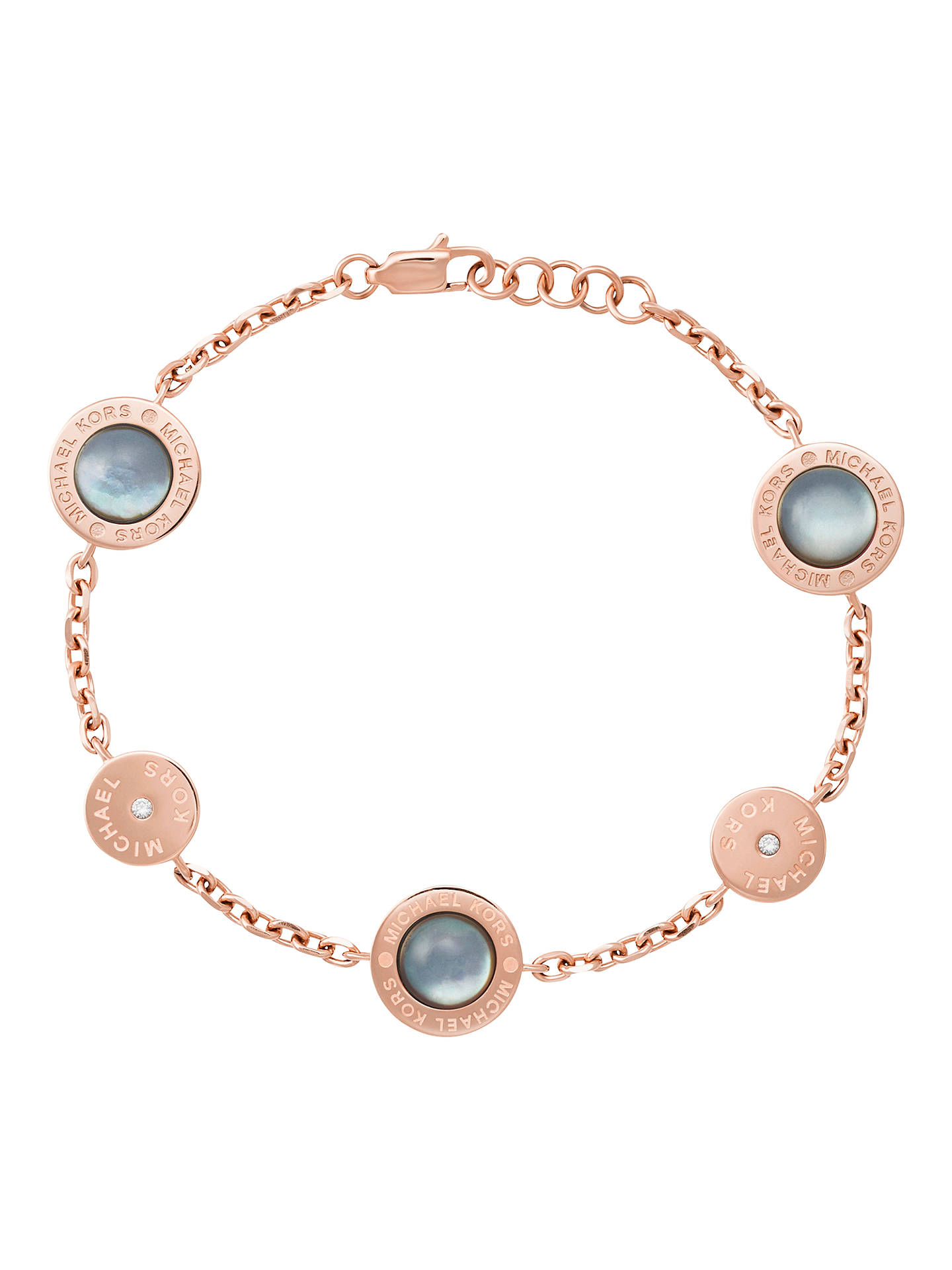 Michael Kors Mother Of Pearl Charm Chain Bracelet Rose Gold Grey Online At Johnlewis