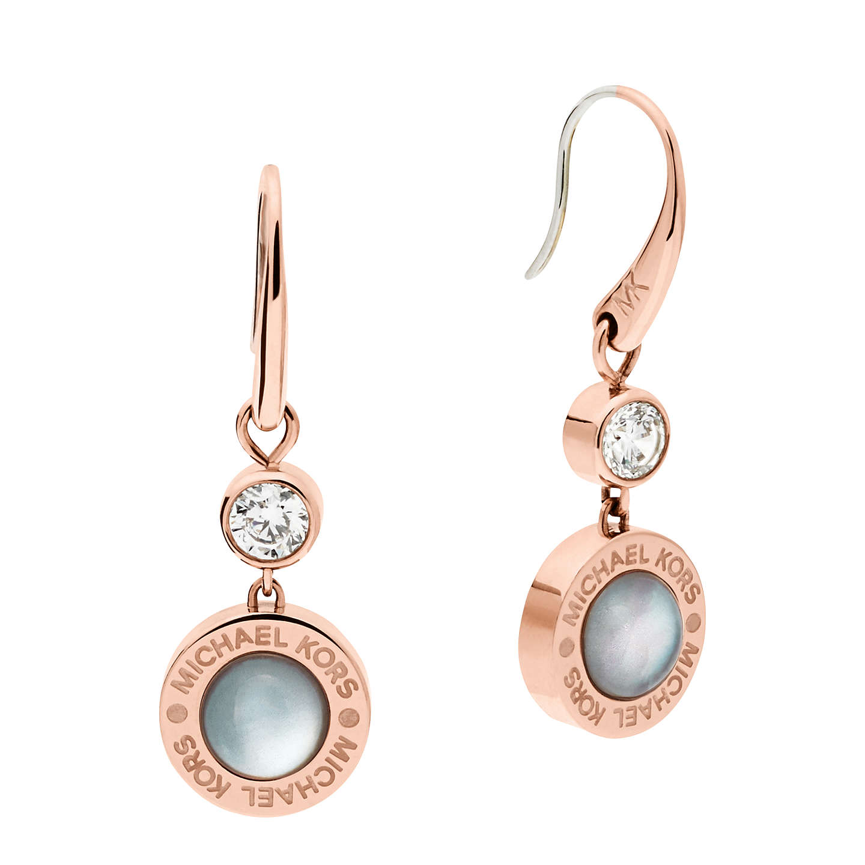 Michael Kors Mother Of Pearl Logo Drop Earrings Rose Gold Grey Online At Johnlewis