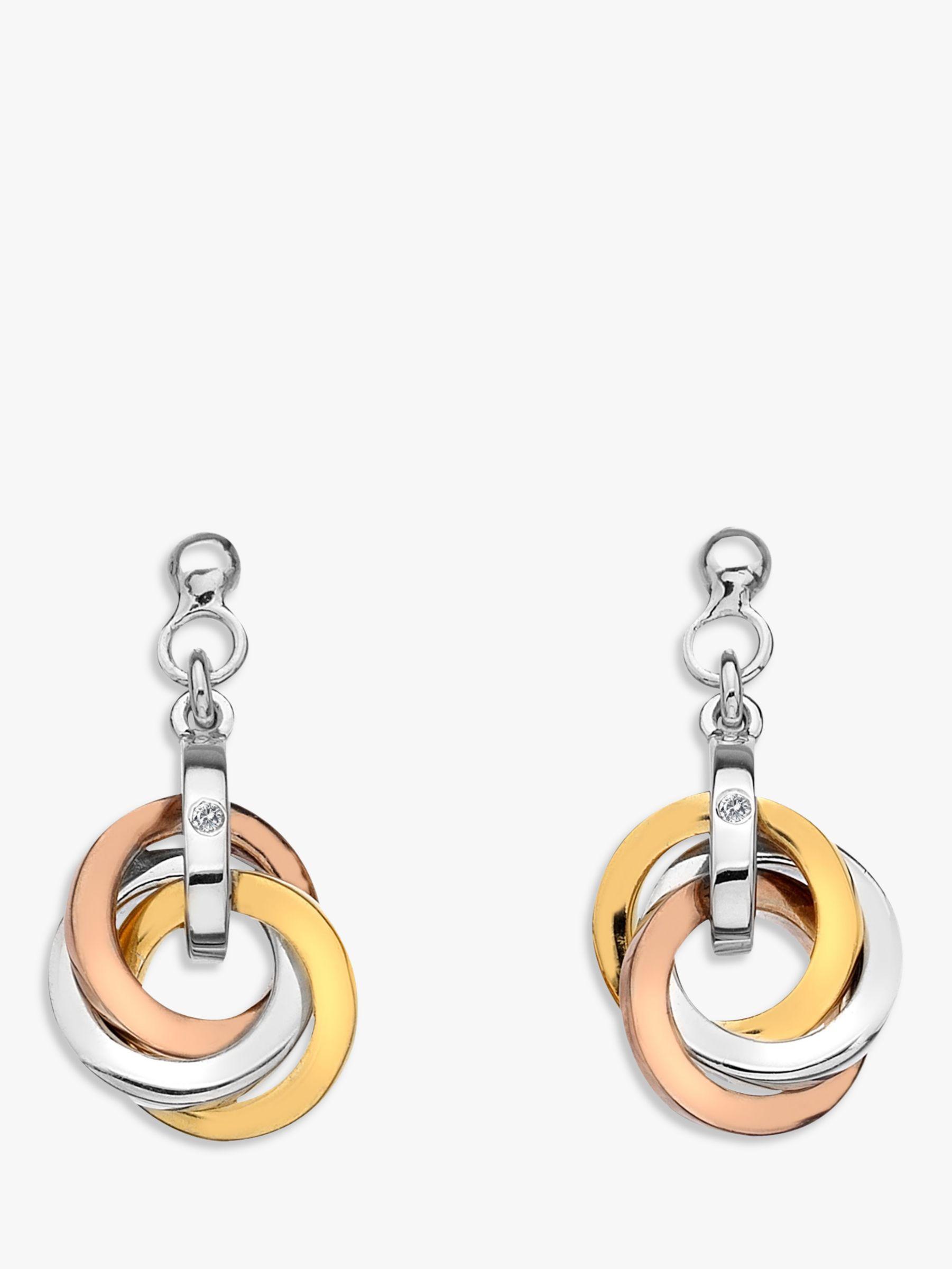 Hot Diamonds Hot Diamonds Trio Round Drop Earrings, Silver/Gold Multi
