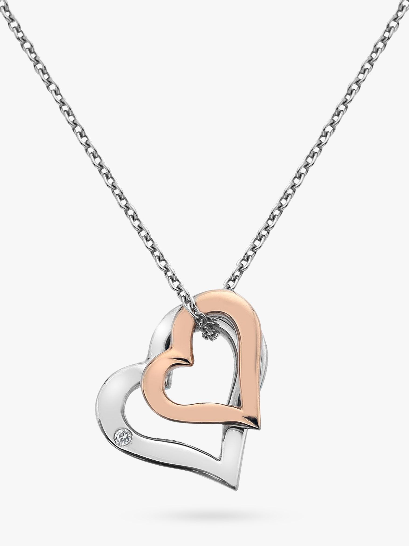 Hot Diamonds Hot Diamonds Double Heart Pendant Necklace, Silver/Rose Gold