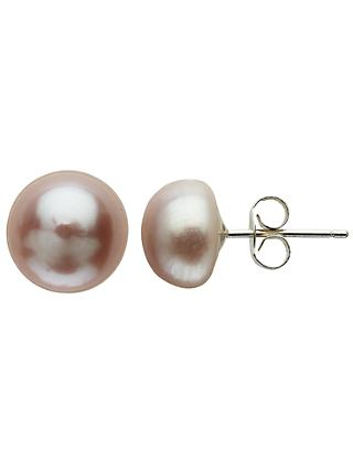 Claudia Bradby Freshwater Pearl Button Stud Earrings, 9-10mm