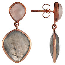 Buy John Lewis Gemstones Rose Quartz and Labradorite Drop Earrings, Rose Gold/Grey Online at johnlewis.com