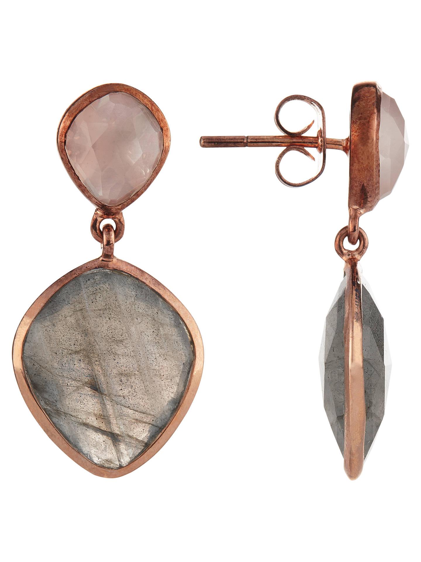 John Lewis Semi Precious Stone Drop Earrings Rose Quartz Labradorite Online At Johnlewis