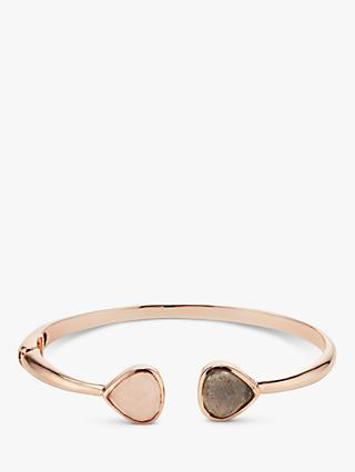 John Lewis & Partners Gemstones Hinged Bangle, Labradorite/Rose Quartz