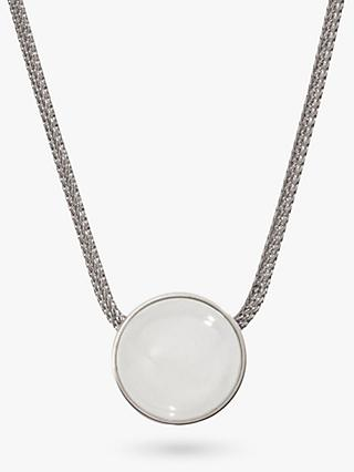 Skagen Sea Glass Round Pendant Necklace, Silver/White SKJ0080040