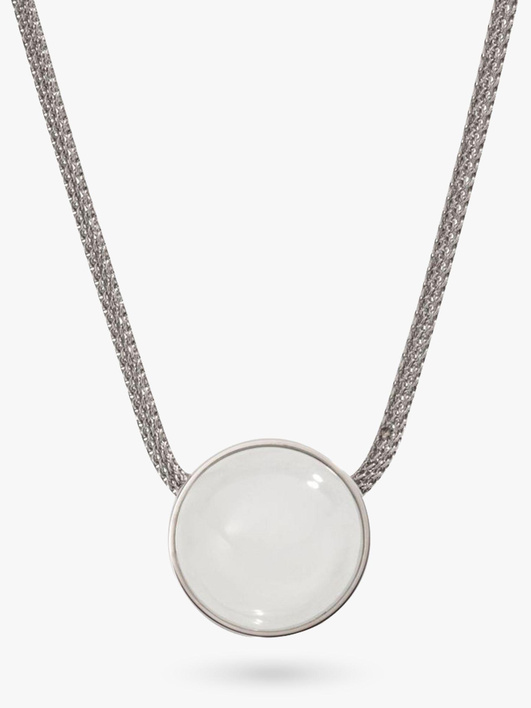 skagen Skagen Sea Glass Round Pendant Necklace, Silver/White SKJ0080040