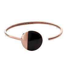 Buy Skagen Ellen Onyx Open-End Bangle, Black/Rose Gold Online at johnlewis.com