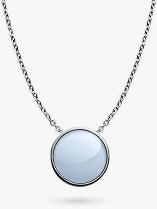 Buy Skagen Sea Glass Round Pendant Necklace, Silver/Pale Blue SKJ0790040 Online at johnlewis.com