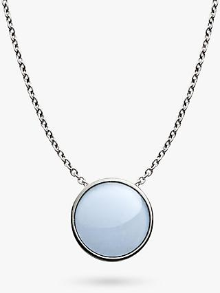 Skagen Sea Glass Round Pendant Necklace, Silver/Pale Blue SKJ0790040