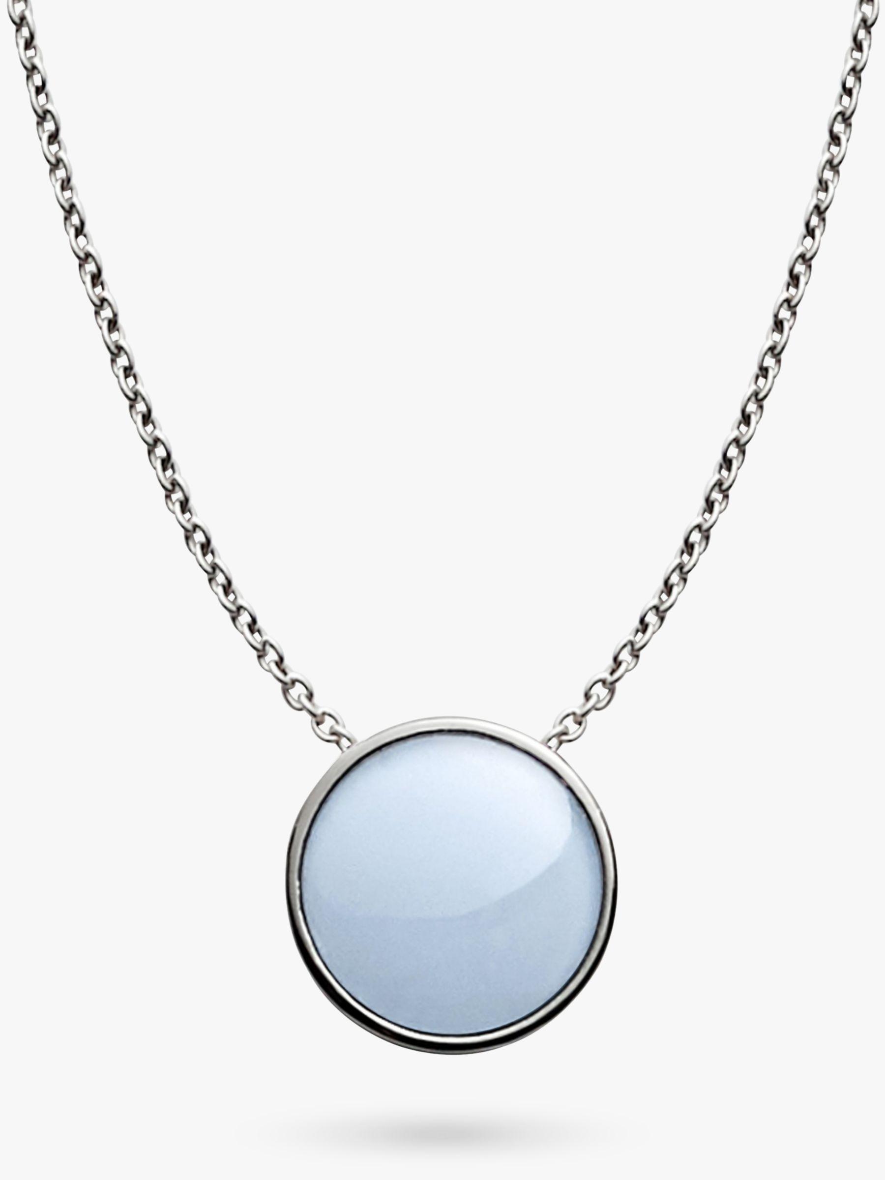 skagen Skagen Sea Glass Round Pendant Necklace, Silver/Pale Blue SKJ0790040