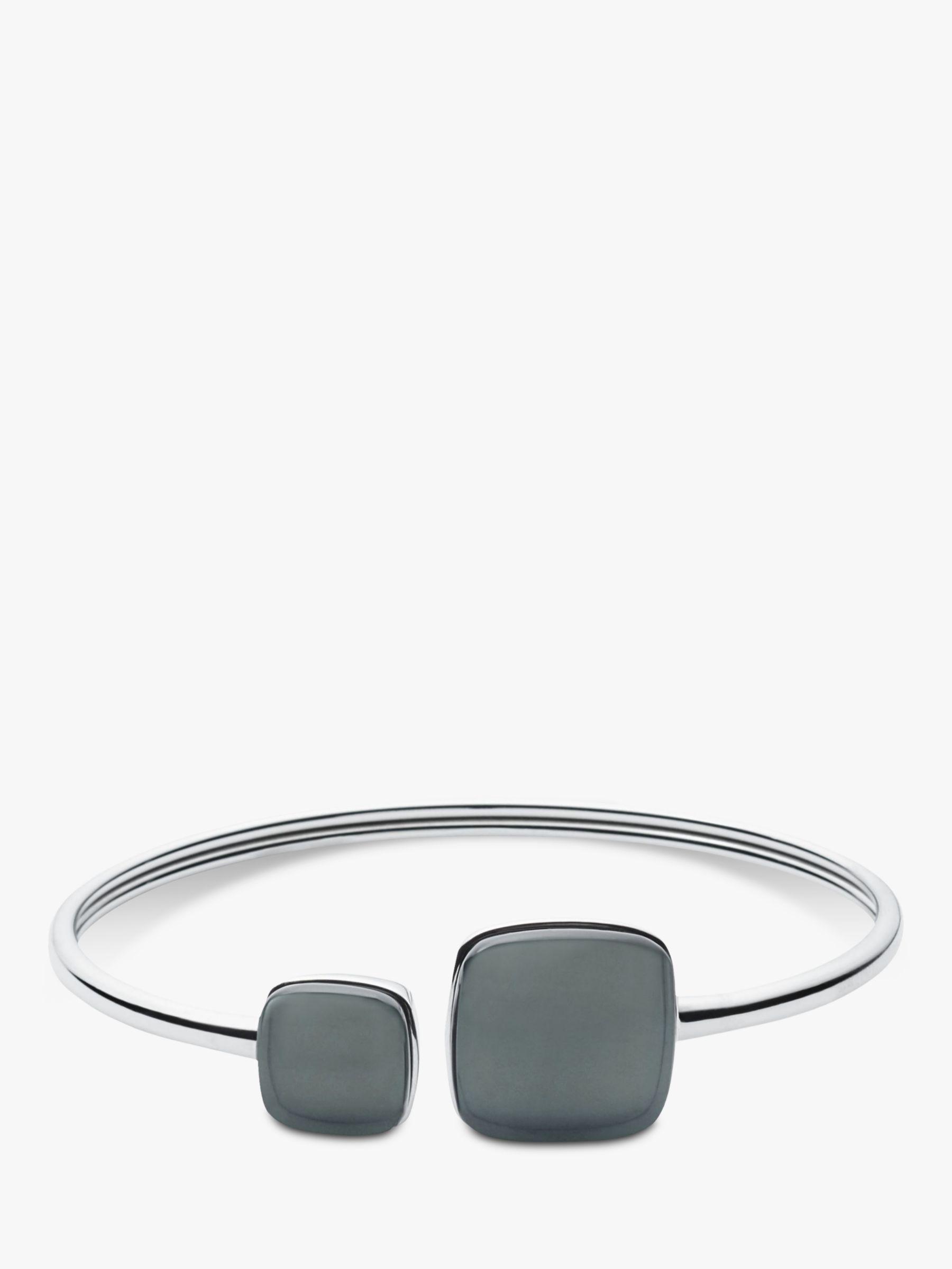 skagen Skagen Sea Glass Open End Bangle, Silver/Steel Blue SKJ0870040