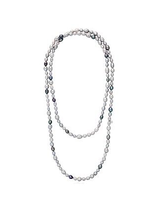 Claudia Bradby Long Rice Freshwater Pearl Necklace, Silver/Multi