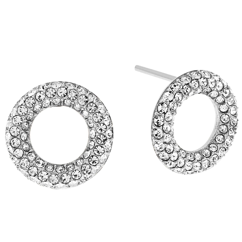 Michael Kors Pave Crystal Circle Stud Earrings Silver Online At Johnlewis
