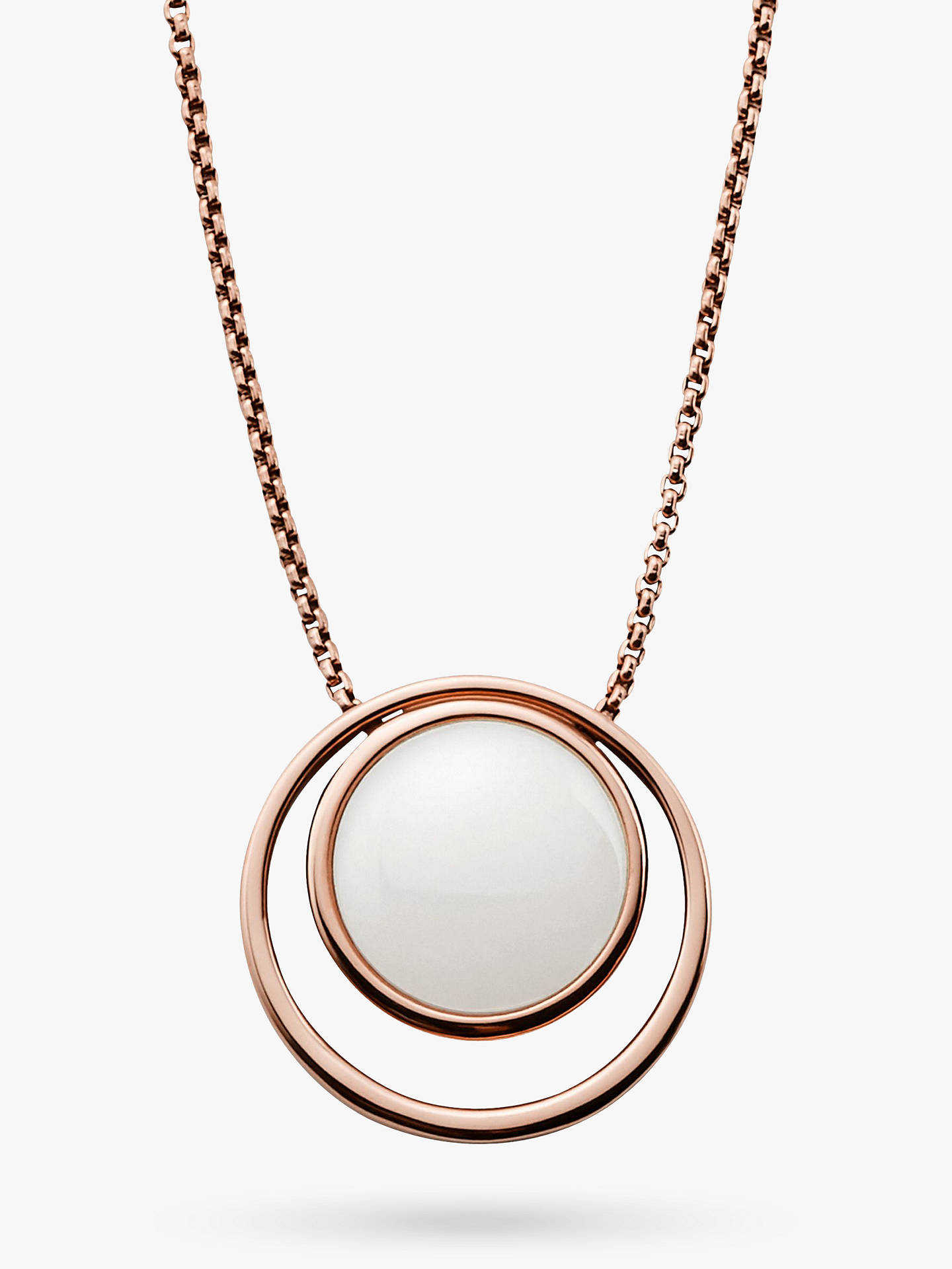 BuySkagen Sea Glass Double Round Pendant Necklace, Rose Gold/White SKJ0821791 Online at johnlewis.com