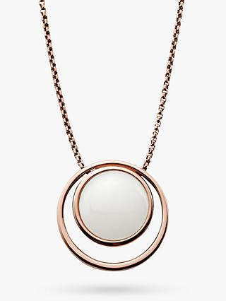 Skagen Sea Glass Double Round Pendant Necklace, Rose Gold/White SKJ0821791
