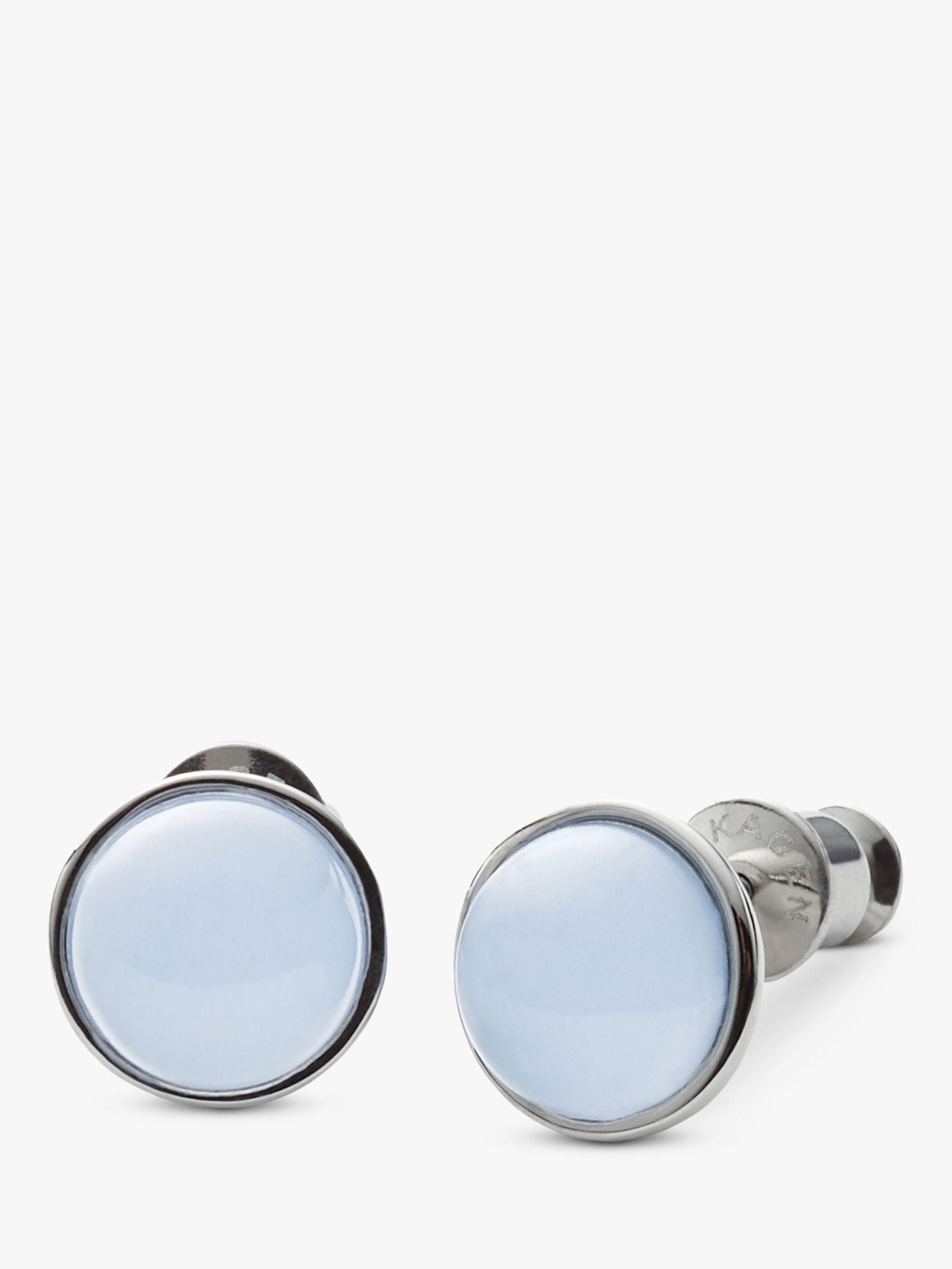 skagen Skagen Sea Glass Round Stud Earrings, Silver/Pale Blue SKJ0820040
