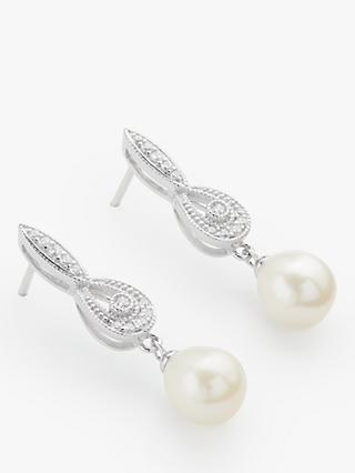 Lido Freshwater Pearl Drop Earrings, Silver/White