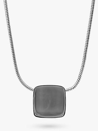 Skagen Sea Glass Square Pendant Necklace, Silver/Steel Blue SKJ0868040