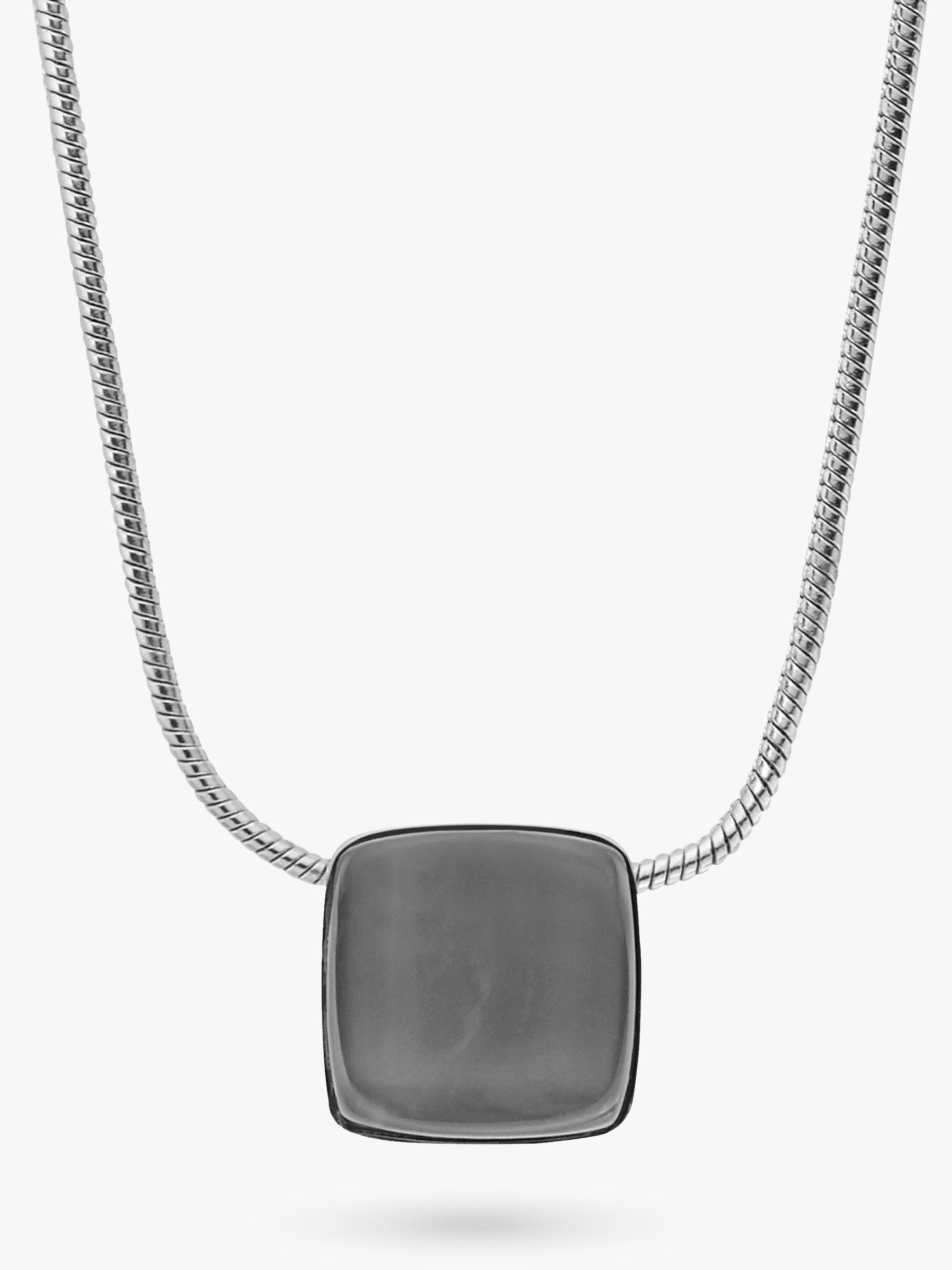 skagen Skagen Sea Glass Square Pendant Necklace, Silver/Steel Blue SKJ0868040