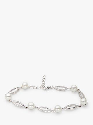Lido Pearls Freshwater Pearl Marquise Link Bracelet, Silver/White