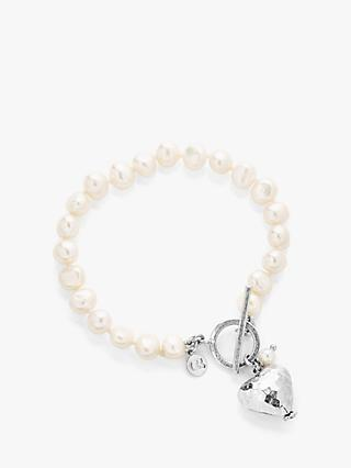 Claudia Bradby Hammered Heart Charm Freshwater Pearl Bracelet