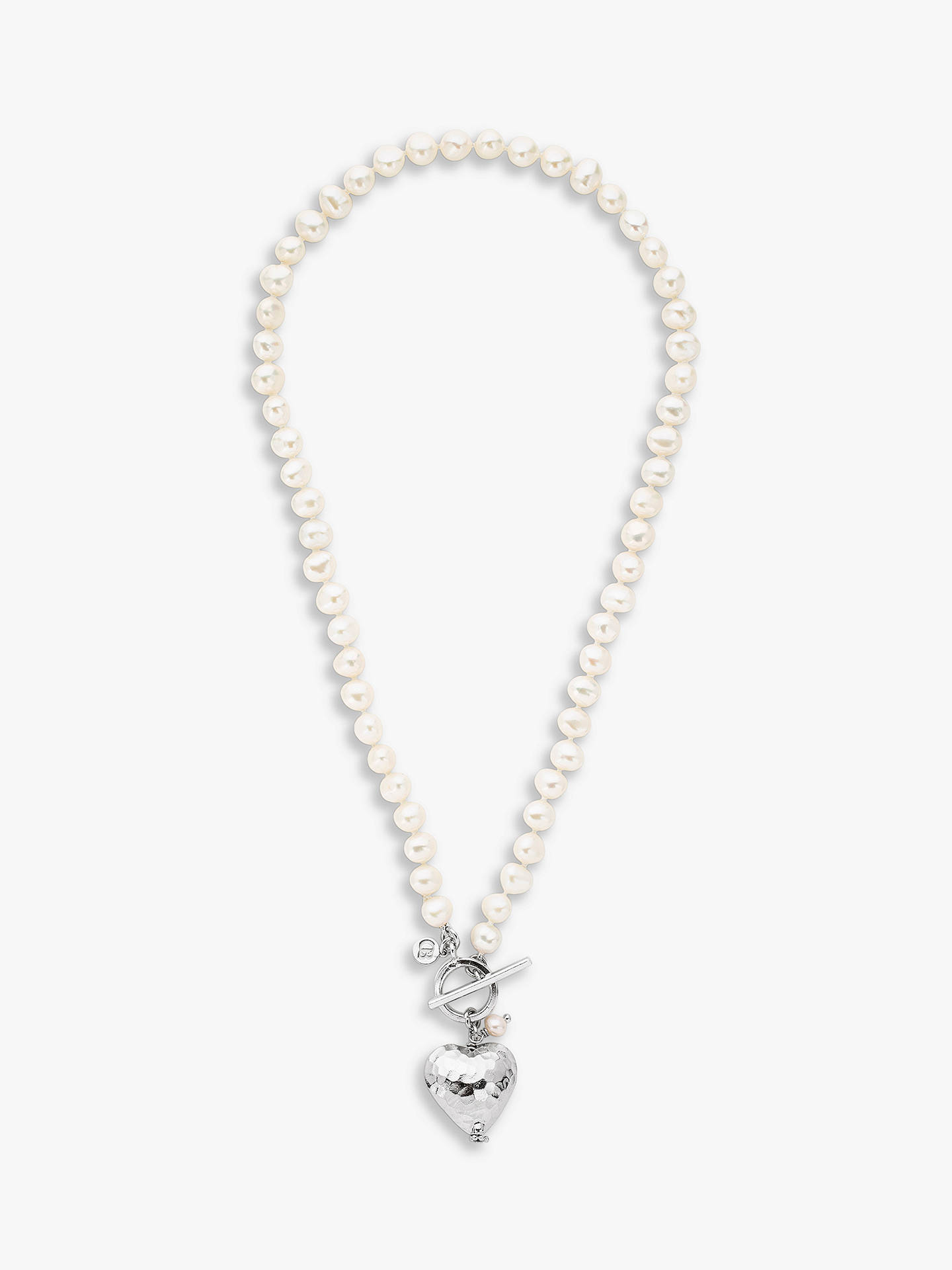 BuyClaudia Bradby Bella Hammered Heart Pendant Necklace, White Online at johnlewis.com