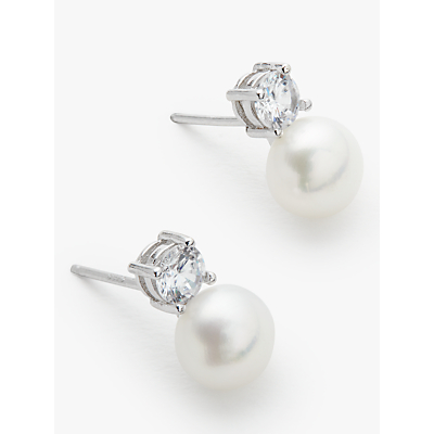 Product photo of Lido pearls freshwater pearl stud earrings white silver