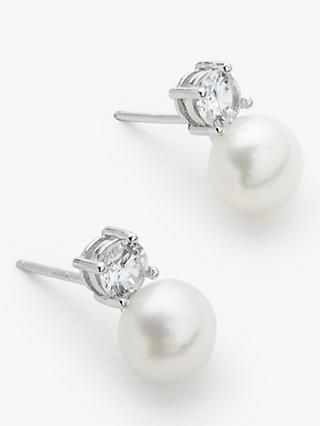 Lido Freshwater Pearl Stud Earrings, White/Silver