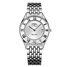 Buy Rotary GB90800/01 Men's Les Originales Ultra Slim Date Bracelet Strap Watch, Silver Online at johnlewis.com
