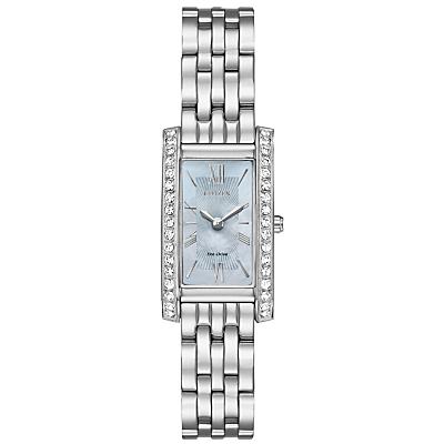 Citizen EX1470-60D Women's Silhouette Crystal Bracelet Strap Watch, Silver/Blue