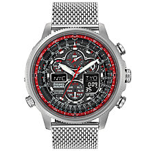 Buy Citizen JY8039-54E Men's RAF Limited Edition Red Arrows Navihawk A.T Chronograph Bracelet Strap Watch, Silver/Black Online at johnlewis.com